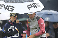 Lee Westwood (ENG) and caddy Helen Storey on the 9th tee during Sunday's Final Round of the 148th Open Championship, Royal Portrush Golf Club, Portrush, County Antrim, Northern Ireland. 21/07/2019.<br /> Picture Eoin Clarke / Golffile.ie<br /> <br /> All photo usage must carry mandatory copyright credit (© Golffile | Eoin Clarke)