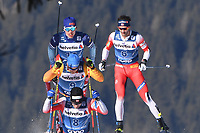 1st January 2020, Toblach, South Tyrol , Italy;  Iivo Niskanen of Finland back , Lucas Boegl of Germany, Sjur Roethe of Norway infront and Christer Hans Holund r of Norway during mens cross country skiing 15 km classic style pursuit at the FIS Tour de Ski event in Toblach, Italy on January 1, 2020.