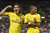 September 8th 2017, Stade Saint-Symphorien, Metz, France; French League 1 football, Metz versus Paris St Germain;   KYLIAN MBAPPE (psg) celebrates scoring in the 59th minute with EDINSON CAVANI (psg)