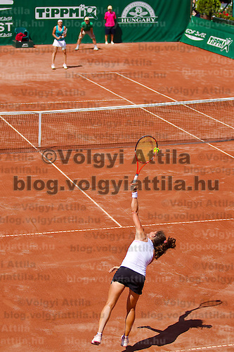 Agnes Szavay (HUN) and Patti Schnyder (SUI) plays during the Gaz de France Suez WTA tour Grand Prix international women tennis competition held at Roman Tennis Academy in Budapest, Hungary. Tuesday, 06. July 2010. ATTILA VOLGYI