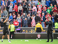 Lincoln City manager Danny Cowley acknowledges the fans at the end of the game<br /> <br /> Photographer Chris Vaughan/CameraSport<br /> <br /> The EFL Sky Bet Championship - Rotherham United v Lincoln City - Saturday 10th August 2019 - New York Stadium - Rotherham<br /> <br /> World Copyright © 2019 CameraSport. All rights reserved. 43 Linden Ave. Countesthorpe. Leicester. England. LE8 5PG - Tel: +44 (0) 116 277 4147 - admin@camerasport.com - www.camerasport.com
