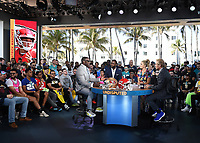 "MIAMI BEACH, FL - JANUARY 29: Shannon Sharpe, Michael Vick, Jenny Taft, and Skip Bayless on the set of ""Skip & Shannon: Undisputed"" on the Fox Sports South Beach studio during Super Bowl LIV week on January 29, 2020 in Miami Beach, Florida. (Photo by Frank Micelotta/Fox Sports/PictureGroup)"