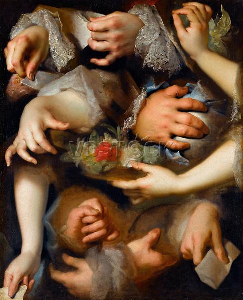 Study of Hands by Largilliere, Nicolas, de (1656-1746) / Louvre, Paris / ca 1715 / France / Oil on canvas / Genre / 65x52 / Rococo