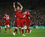 Roberto Firmino of Liverpool celebrates scoring the fifth goal during the Champions League Semi Final 1st Leg match at Anfield Stadium, Liverpool. Picture date: 24th April 2018. Picture credit should read: Simon Bellis/Sportimage