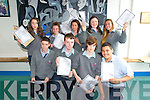 Tarbert Comprehensive School Junior Cert students Tony McAuliffe, Denis McElligott, Aaron Stack & Eoghan Lavery in front and Katie Scannell, Zoe Griffin, Roisin Joy, Megan Mulvihill & Maggie Flavin  receiving their results on Wednesday morning last.