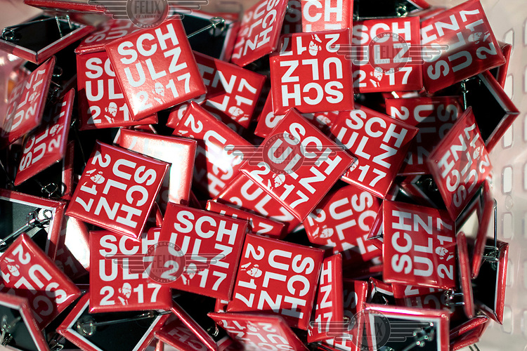 'Schulz 2017' badges, for sale at the the SPD party conference. Schulz is the SPD's candidate for chancellor for the 2017 federal election.