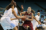 31 January 2013: Florida State's Leonor Rodriguez (ESP) (10) drives against North Carolina's Waltiea Rolle (32) and Krista Gross (21). The University of North Carolina Tar Heels played the Florida State University Seminoles at Carmichael Arena in Chapel Hill, North Carolina in an NCAA Division I Women's Basketball game. UNC won the game 72-62.