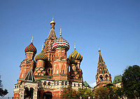 The exterior of St. Basil's Cathedral featuring the traditional, Russian, ornate onion dome architecture. Red Square, Moscow, Russia.