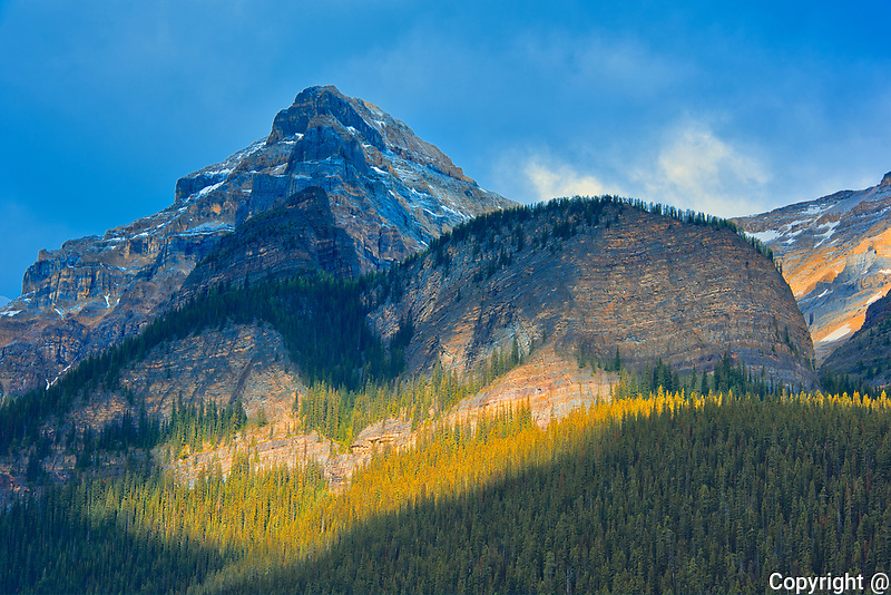 Mt. Whyte (left) and the Beehive (right) behind Lake Louise in the Canadian Rockies.<br />Banff National Park<br />Alberta<br />Canada