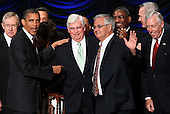 United States President Barack Obama (L) greets Rep. Barney Frank (R) (D-MA) and Sen. Chris Dodd (C) (D-CT) after signing the Dodd-Frank Wall Street Reform and Consumer Protection Act at the Ronald Reagan Building, Wednesday, July 21, 2010 in Washington, DC. The bill is the strongest financial reform legislation since the Great Depression and also creates a consumer protection bureau that oversees banks on mortgage lending and credit card practices.  Also pictured are U.S. Senate Majority Leader Harry Reid (D-NV), far left, and U.S. House Majority Leader Steny Hoyer (D-MD), far right..Credit: Win McNamee - Pool via CNP