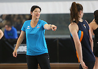 06.10.2013 Silver Fern assistant coach Vicky Wilson in action during the Silver Ferns training in Melbourne, Australia. Mandatory Photo Credit ©Michael Bradley.