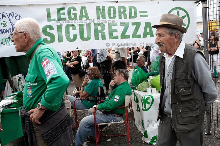 Paesana: leghisti partecipano a Paesana alla festa dei popoli padani organizzata dalla Lega Nord per il rito dell'ampolla alle sorgenti del Po.