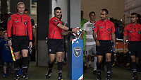 San Jose, CA - Tuesday June 11, 2019: Referees pick up the match ball before the US Open Cup match between the San Jose Earthquakes and Sacramento Republic FC at Avaya Stadium.
