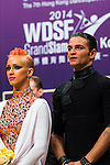 Aniello Langella and Khrystyna Moshenska of Italy at the prize presentation ceremony of the WDSF GrandSlam Latin on the Day 1 of the WDSF GrandSlam Hong Kong 2014 on May 31, 2014 at the Queen Elizabeth Stadium Arena in Hong Kong, China. Photo by AItor Alcalde / Power Sport Images