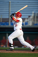 Auburn Doubledays third baseman Sheldon Neuse (38) at bat during a game against the Williamsport Crosscutters on June 26, 2016 at Falcon Park in Auburn, New York.  Auburn defeated Williamsport 3-1.  (Mike Janes/Four Seam Images)