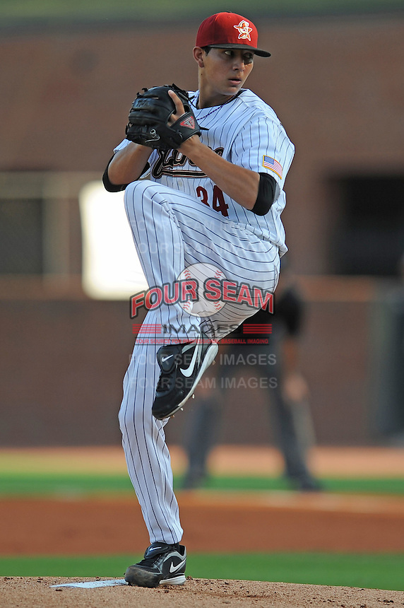 Greenville Astros Vincent Velasquez at Pioneer Park in Greenville, Tennessee July 19, 2010.   Greenville won the game 7-6.  Photo By Tony Farlow/Four Seam Images