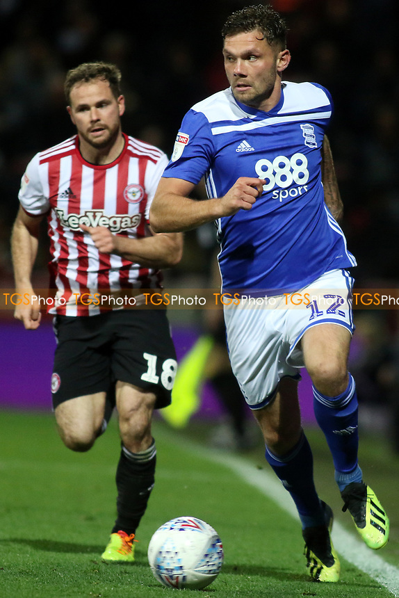 Harlee Dean of Birmingham City in possession as Brentford's Alan Judge looks on during Brentford vs Birmingham City, Sky Bet EFL Championship Football at Griffin Park on 2nd October 2018
