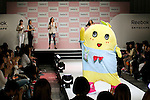 """Japanese mascot character Funassyi attends the Reebok Skyscape Fashion Show on April 15, 2015, Tokyo, Japan. Miranda Kerr, who is very popular in Japan, is the Reebok global ambassador for the new footwear line """"Skyscape"""". Models Anne Nakamura, Tina Tamashiro and Funassyi, mascot of Funabashi city in Chiba, also attended the event. (Photo by Rodrigo Reyes Marin/AFLO)"""