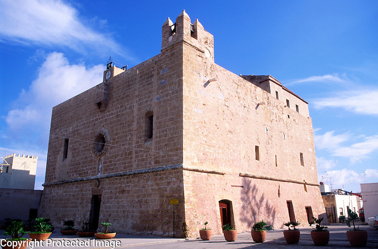 Historic Santuario fortress building,  San Vito do Capo, Sicily, Italy