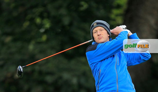 Mark Staunton (Ballinasloe G.C) on the 1st during Round 3 of The Cassidy Golf 103rd Irish PGA Championship in Roganstown Golf Club on Saturday 12th October 2013.<br /> Picture:  Thos Caffrey / www.golffile.ie