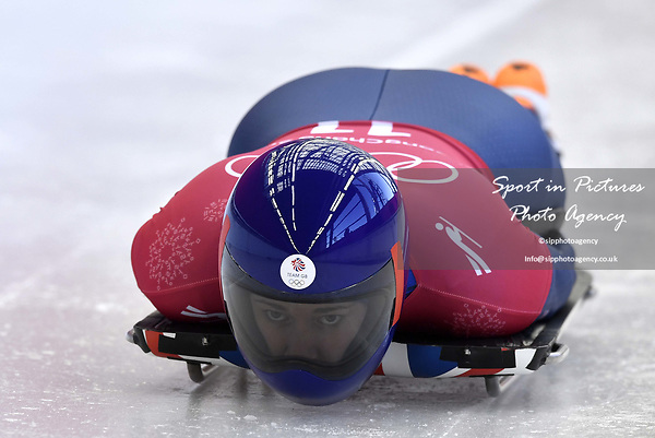 Lizzy Yarnold (GBR). Skeleton training. Alpensia sliding centrePyeongchang2018 winter Olympics. Alpensia. Republic of Korea. 13/02/2018. ~ MANDATORY CREDIT Garry Bowden/SIPPA - NO UNAUTHORISED USE - +44 7837 394578