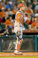 Texas Longhorns catcher Jacob Felts #12 on defense against the Tennessee Volunteers at Minute Maid Park on March 3, 2012 in Houston, Texas.  The Volunteers defeated the Longhorns 5-4.  (Brian Westerholt/Four Seam Images)