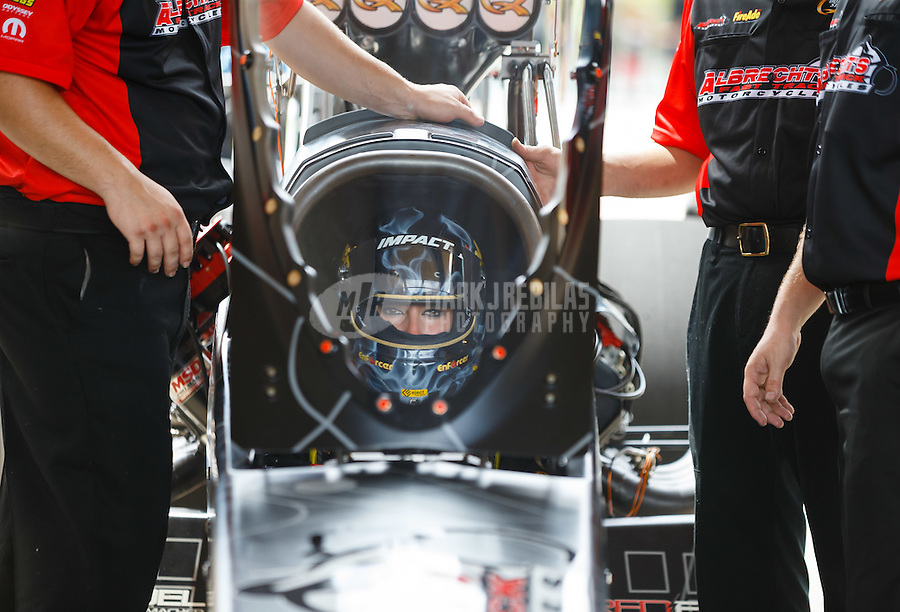 Jul 10, 2016; Joliet, IL, USA; NHRA top fuel driver Leah Pritchett during the Route 66 Nationals at Route 66 Raceway. Mandatory Credit: Mark J. Rebilas-USA TODAY Sports