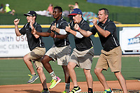 The Fly Guys from the grounds crew of the Columbia Fireflies in a game against the Rome Braves on Sunday, July 2, 2017, at Spirit Communications Park in Columbia, South Carolina. Columbia won, 3-2. (Tom Priddy/Four Seam Images)
