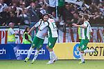 Stockholm 2013-06-23 Fotboll Superettan , Hammarby IF - &Auml;ngelholms FF :  <br /> Hammarby 10 Kennedy Bakircioglu gratuleras av Hammarby 13 Max von Schlebr&uuml;gge  , Hammarby 7 Christophe Lallet efter att ha kvitterat till 1-1 och gjort det sista m&aring;let i den sista matchen p&aring; S&ouml;derstadion<br /> (Foto: Kenta J&ouml;nsson) Nyckelord:  jubel gl&auml;dje lycka glad happy