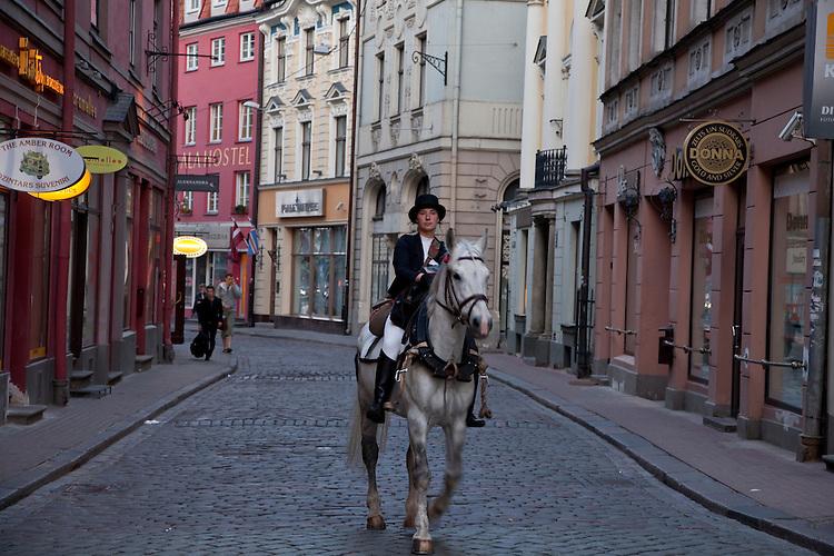 Horseback Rider in downtown Riga,Latvia