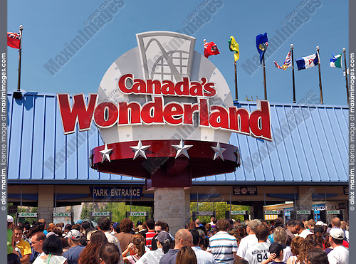 People lined up at the entrance of Canada's Wonderland amusement park. Vaughan Ontario Canada.