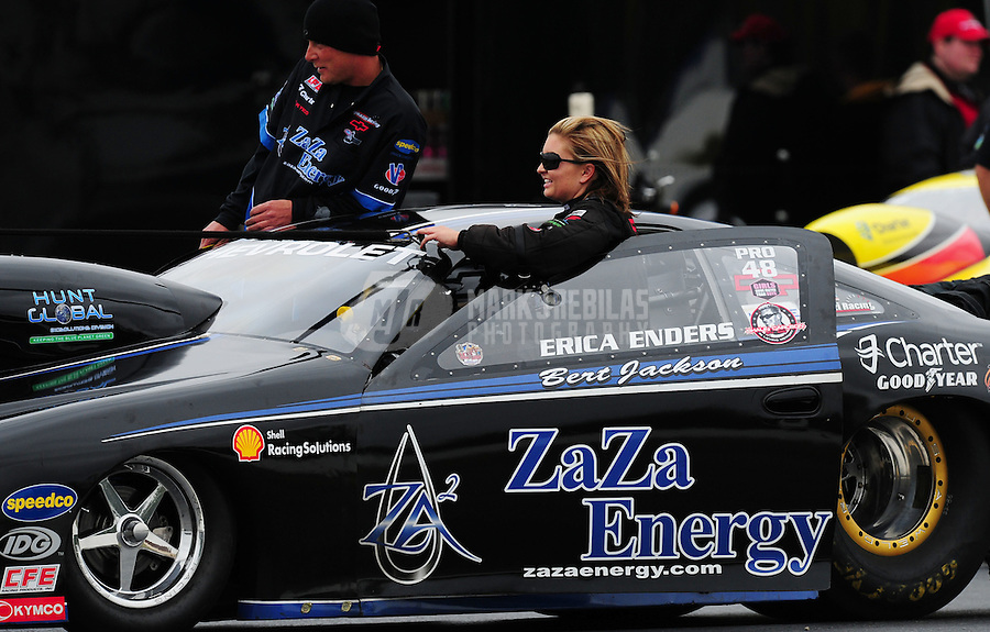 Sept. 17, 2011; Concord, NC, USA: NHRA pro stock driver Erica Enders during qualifying for the O'Reilly Auto Parts Nationals at zMax Dragway. Mandatory Credit: Mark J. Rebilas-US PRESSWIRE