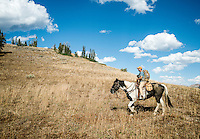Outdoor Life Editor Andrew McKean mule deer hunting on top of Greyback Ridge in the Hoeback Drainage of Wyoming Region H, outside of Alpine, Wyoming, Tuesday, September 22, 2015. <br /> <br /> Photo by Matt Nager