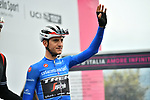 Maglia Azzurra Giulio Ciccone (ITA) Trek-Segafredo at sign on before Stage 16 of the 2019 Giro d'Italia, running 194km from Lovere to Ponte di Legno, Italy. 28th May 2019<br /> Picture: Massimo Paolone/LaPresse | Cyclefile<br /> <br /> All photos usage must carry mandatory copyright credit (© Cyclefile | Massimo Paolone/LaPresse)