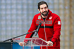 TORONTO, ON - FEBRUARY 11: Captain Greg Westlake, speaks to the crowd about what fans can expect from Team Canada as Hockey Canada reveals the players and coaching staff who will represent Team Canada in Men's Sledge Hockey at the upcoming Paralympic 2018 Winter Games in PyeongChang, South Korea on February 11, 2018 in the Atrium at the Canadian Broadcasting Corporation building in Toronto, Canada. (Photo by Adam Pulicicchio/Hockey Canada)