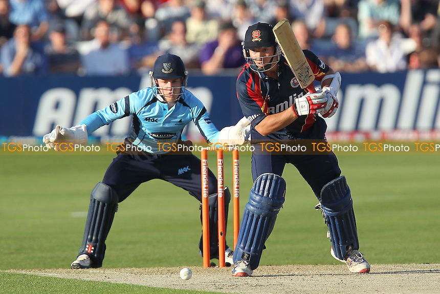Graham Napier of Essex in batting action for Essex as Ben Brown looks on - Essex Eagles vs Sussex Sharks - Friends Life T20 Cricket at the Ford County Ground, Chelmsford, Essex - 28/06/12 - MANDATORY CREDIT: Gavin Ellis/TGSPHOTO - Self billing applies where appropriate - 0845 094 6026 - contact@tgsphoto.co.uk - NO UNPAID USE.