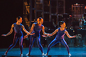 """12/05/2015. London, England. L-R: Antonia Hewitt, Lucy Balfour and Vanessa Kang. Rambert Dance Company perform the World Premiere of """"Dark Arteries"""" by Mark Baldwin as part of a triple bill at Sadler's Wells Theatre. Rambert perform with the Tredegar Town Band and the Rambert Orchestra from 12 to 16 May 2015."""