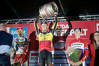 smiling podium boys:<br /> 1/ Sven Nys (BEL/Crelan-AAdrinks)<br /> 2/ Klaas Vantornout (BEL/Sunweb-Napoleon Games)<br /> 3/ Lars Van der Haar (NLD/Giant-Shimano)<br /> <br /> GP Neerpelt 2014