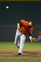 Frederick Keys relief pitcher Steven Klimek (27) delivers a pitch to the plate against the Winston-Salem Dash at BB&T Ballpark on July 26, 2018 in Winston-Salem, North Carolina. The Keys defeated the Dash 6-1. (Brian Westerholt/Four Seam Images)