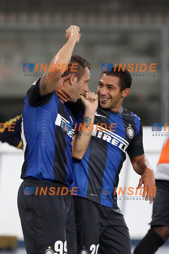 "Esultanza Antonio Cassano Walter Gargano Inter.Verona 26/09/2012 Stadio ""Bentegodi"".Football Calcio Serie A 2012/13.Chievo v Inter.Foto Insidefoto Paolo Nucci."