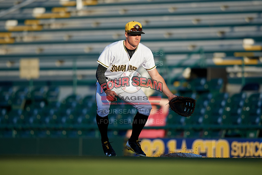 Bradenton Marauders first baseman Lucas Tancas (29) during a game against the Tampa Tarpons on April 25, 2018 at LECOM Park in Bradenton, Florida.  Tampa defeated Bradenton 7-3.  (Mike Janes/Four Seam Images)