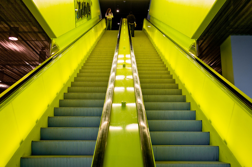 Downtown Seattle Public Library building interior escalator photo. The building architect was Rem Koolhas. Photograph by Robert Wade.