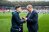 Sunday April 02 2017 <br /> Pictured: Swansea City U23 Players receive medals and the PL2 trophy at the Game <br /> Re: Premier League match between Swansea City and Middlesbrough at The Liberty Stadium, Swansea, Wales, UK. SUnday 02 April 2017