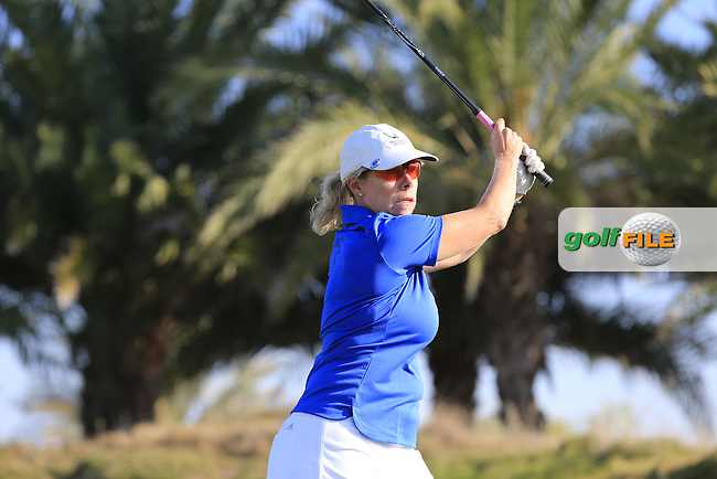 Dale Matthews tees off during the 2015 Abu Dhabi Invitational Am-Am event held at Yas Links Golf Course, Abu Dhabi.: Picture Eoin Clarke, www.golffile.ie: 1/26/2015