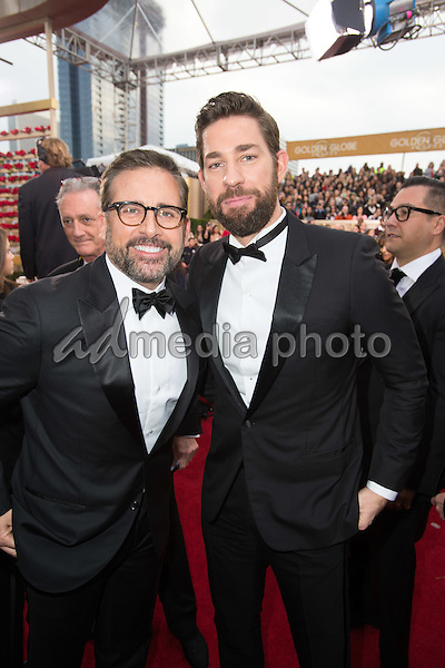 """Steve Carell, Golden Globe Nominee in the category of BEST PERFORMANCE BY AN ACTOR IN A MOTION PICTURE for """"The Big Short"""", and presenter John Krasinski, arrive at the 73rd Annual Golden Globe Awards at the Beverly Hilton in Beverly Hills, CA on Sunday, January 10, 2016. Photo Credit: HFPA/AdMedia"""