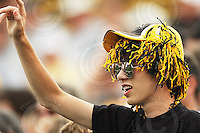 July 12, 2008; Hamilton, ON, CAN; Hamilton Tiger-Cats supporter during the CFL football game against the Saskatchewan Roughriders at Ivor Wynne Stadium. The Roughriders defeated the Tiger-Cats 33-28. Mandatory Credit: Ron Scheffler.