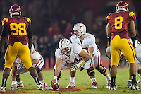 LOS ANGELES, CA-OCTOBER 29,2011- The Stanford Cardinals defeated the USC Trojans 56-48. Andrew Luck (12) during play against USC at the L.A. Coliseum in Los Angeles, CA.