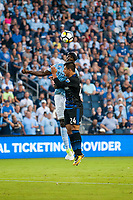 Kansas City, KS - Wednesday August 9, 2017: Ike Opera, Nick Lima during a Lamar Hunt U.S. Open Cup Semifinal match between Sporting Kansas City and the San Jose Earthquakes at Children's Mercy Park.