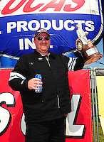 Apr. 29, 2012; Baytown, TX, USA: NHRA super stock driver Doug Baumgardner celebrates after winning the Spring Nationals at Royal Purple Raceway. Mandatory Credit: Mark J. Rebilas-