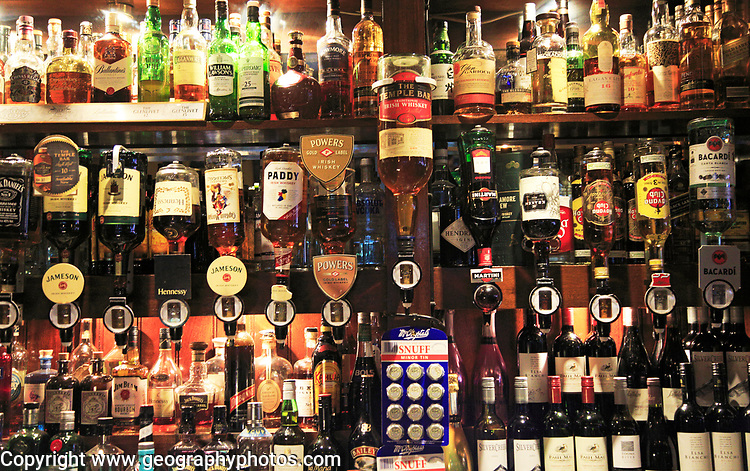 Bottles of spirits bar display inside the Temple Bar pub, Dublin city centre, Ireland, Republic of Ireland